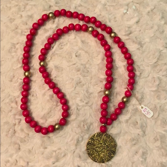 gracyns jewelry Box Jewelry - Hot Pink Coin Necklace